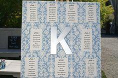 Elegant blue and white seating chart!
