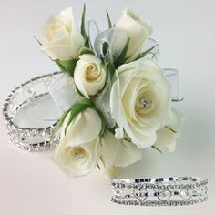Cupid Dazzle bracelet from Fitz Design. Prom Corsage And Boutonniere, Corsage Wedding, Bridesmaid Bouquet, Wedding Bouquets, Boutonnieres, Homecoming Flowers, Prom Flowers, Bridal Flowers, Flower Corsage