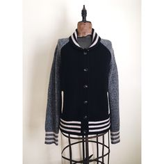 Madewell Wallace Varsity sweater jacket Wallace for Madewell. Super soft 100% merino wool sweater // cardigan with rolled striped collar, striped cuffs and banded bottom // black body with marled sleeves // two side pockets // excellent condition Madewell Sweaters Cardigans