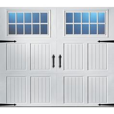 Shop Pella Carriage House Series 96 In X 84 In Insulated White Garage Door With Windows At Carriage House Garage Doors Garage Door Styles Carriage House Garage