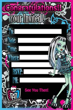 A Monster High Invite I Designed On Photo Shop For My Step Daughters Birthday