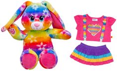 Build a Bear Rainbow Daisy Blooms Bunny Rabbit with 2 pc. Outfit Teddy BAB bears stuffed plush toy animals In Stock Now at http://www.bonanza.com/booths/TweetToyShopIn Stock Now at http://www.bonanza.com/booths/TweetToyShop