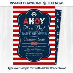 Nautical Baby Shower Invitations - Nautical Invitation - Nautical Shower - EDIT at home NOW with Adobe Reader!!! - Sugar Shebang by ArcticParty on Etsy https://www.etsy.com/listing/387159098/nautical-baby-shower-invitations