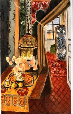Interior, Flowers and Parakeets, 1924, by Henri Matisse (French, 1869–1954).