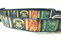 Dog Collar, Harry Potter, 1 inch wide, adjustable, quick release, metal buckle, chain, martingale, hybrid, nylon by caninedesign on Etsy https://www.etsy.com/listing/213282730/dog-collar-harry-potter-1-inch-wide