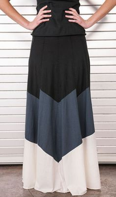 Colorblock Tiered Skirt by Alabama Chanin