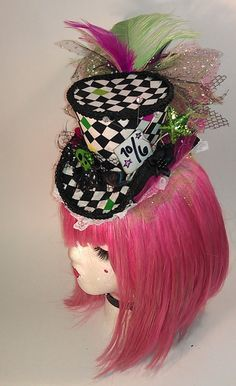 Checkered Mad Hatter Mini Top Hat Alice Wonderland by CandysHats