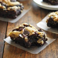 These easy chocolate chip cookie brownies have my very favorite chocolate chip cookie dough baked into the top layer of decadent, fudgy brownies.
