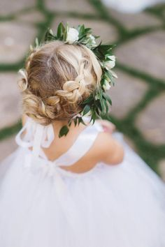Flower Girl Updo, Flower Crown Hairstyle, Flower Girl Hairstyles, Little Girl Hairstyles, Flower Girl Dresses, Flower Crowns, Guy Hairstyles, Toddler Hairstyles, Crown Flower