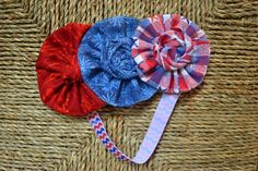 Red, Blue fireworks, and plaid stars fabric ruffle trio with rosette centers - 4th of july - hair accessories