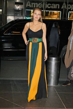 Blake Lively in a stunning Balmain striped skirt and bold belt combo