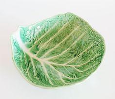 Salad bowl portuguese ceramic cabbage leaf Mid by elNidosingular