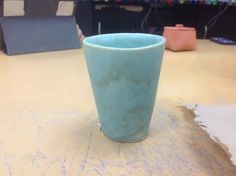 The cup I glazed for my makeup brushes at home :)