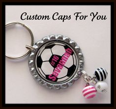 PERSONALIZED Soccer Ball Key Chain With by CustomCapsForYou, $8.95