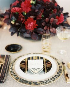 Pair your fancy, plain plates with more eye-catching designs, like a leopard charger and an Art Deco salad plate to make a glamorous impression.