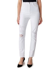 J Brand 1212 Runway High-Rise Slim Straight Jeans in White Destruct Women - Bloomingdale's Denim Branding, Fashion Branding, J Brand Jeans, Jeans Brands, White Denim, World Of Fashion, Fashion Forward, Luxury Fashion, Slim