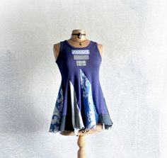 Blue Gypsy Top Upcycled Eco Shirt Artsy Art by BrokenGhostClothing