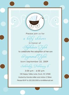 Blue and Brown - Baby Shower\/Adoption Shower Invitation.