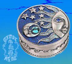 Pewter jeweled sun moon and stars trinket box
