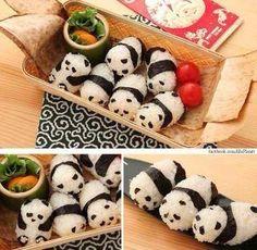 I don't like sushi, but I like pandas, and I like K. , and she likes sushi Panda Sushi, Panda Food, Panda Panda, Happy Panda, Japanese Food Art, Japanese Sweets, Japanese Meals, Japanese Sushi, Bento Recipes