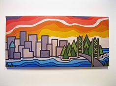 Items similar to The City, Canvas Print x on Etsy Vancouver City, Bold Colors, Handmade Gifts, Etsy Seller, Kawaii, Canvas Prints, Creative, Artist, Canada