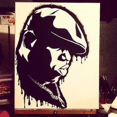 Biggie Smalls black acrylic painting by SnooksCreativeCanvas