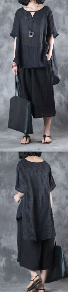 summer new  silk linen two pieces casual loose tops and crop pants