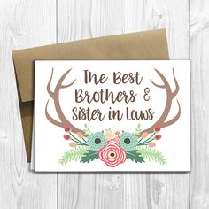PRINTED CUSTOM The Best Brothers and Sister in Laws Get Promoted to Aunt & Uncle - Pregnancy Announcement 5x7 Card - Floral Deer Antlers by DesignsLM on Etsy