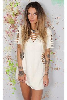 Vestido Suede Tiras Trends - fashioncloset
