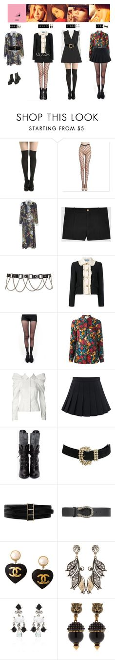 """BLACK PINK -  PLAYING WITH FIRE❤"" by mabel-2310 ❤ liked on Polyvore featuring VIVETTA, Gucci, Pretty Polly, Oscar de la Renta, Chanel and Lulu Frost"