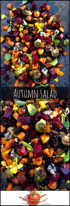 Autumn Salad Recipe of Roasted Red Beets, Butternut Squash & Roast Brussels Sprouts on a bed of black rice with a citrus blood orange vinaigrette! Absolutely wonderful salad- love it. will enjoy this year round! Healthy & simple to make too. Fall Recipes, Veggie Recipes, Vegetarian Recipes, Dinner Recipes, Cooking Recipes, Healthy Recipes, Autumn Vegetable Recipes, Vegetarian Salad, Quinoa Salad