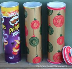 DIY Christmas Gift Packaging For Cookies - Wrap Pringles can with gift wrap and use muffin cups to separate cookies!