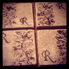 More stamped coasters (made with shower tiles)