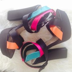 Multi-Colored Strappy Satin-like Platforms Black, Pink, Blue, and Orange Strappy Platforms in a Satin-like Material. Very good condition. Made by Qupid. Fit TTS. Qupid Shoes