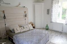 Chambre grise et blanche ambiance nature, cabane de plage