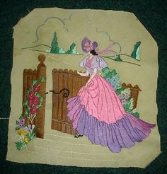 vintage embroidered ladies | Antique Vintage Hand Embroidered Picture Crinoline Lady Walking ...