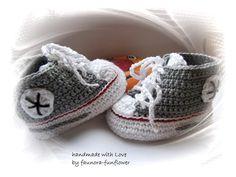 Baby-Turnschuhe gehäkelt Babyschuhe von faunora-funflower auf DaWanda.com