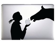 Make a bold graphic statement on your beloved MAC computer! Put some fun in your work day activities with this horse eating the MAC apple. Available for MacBook, Macbook Air, and MacBook Pros. See size guide below. Can be trimmed to fit. If no color is chosen it will be sent in black.  IF YOU DO NOT SEE YOUR COUNTRY LISTED FOR SHIPPING JUST MESSAGE ME. We can work it out.  SIZE APPROX OF DECALS: 15 INCH: 8.375 wide x 8 high  13 INCH: 6.75 wide x 6.75 high  12 INCH: 6.625 wide x 6 high  Here…
