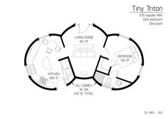 Triton Series dome home 615 square feet One bedroom One bath