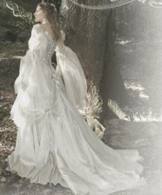 Titania fantasy wedding gown by Rivendell Bridal. Fantasy Wedding Dresses, Fairy Wedding Dress, Wedding Dress Styles, Wedding Gowns, Fairytale Dress, Fairytale Weddings, Fairy Dress, Rustic Weddings, Wedding Themes