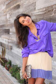http://vivaluxury.blogspot.com/2012/05/purple-n-pleats.html  She's soo pretty <3 Prettiest blogger ever