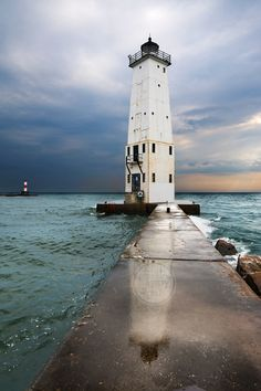 Frankfort Lighthouse Reflections