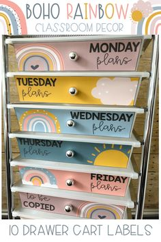 Organize your classroom 10 drawer cart with these cheerful Boho Rainbow drawer labels! Includes 2 design styles and editable versions so you can customize them to meet your classroom organization needs!