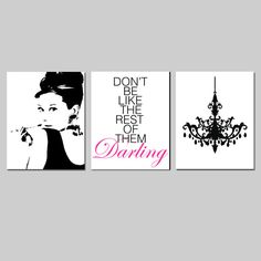 Black and Gold Girl Bedroom Art - Audrey Hepburn, Don't Be Like The Rest of Them Darling Quote, Chandelier - Set of Three Prints Girls Chandelier, Black Chandelier, Chandeliers, Bedroom Canvas, Bedroom Art, Bedroom Ideas, Bedroom Pictures, Master Bedroom, Audrey Hepburn Bedroom