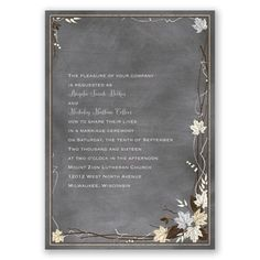 chalkboard autumn wedding invitation - gray | fall wedding invites at Invitations By Dawn