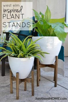 West elm inspired wooden plant stands such a great way to add instant height and style . love that plant stand indoor decor interior design . Wooden Plant Stands, Diy Plant Stand, West Elm Plant Stand, Outdoor Plant Stands, Diy Simple, Easy Diy, Simple Crafts, Diy Home Crafts, Diy Home Decor