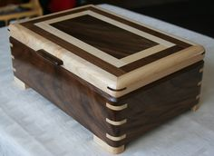 Excited to share the latest addition to my shop: Wooden Jewelry Box, American Walnut and Figur Jewellery Boxes, Wooden Jewelry Boxes, Jewellery Storage, Wood Projects, Woodworking Projects, Woodworking Shop, Woodworking Jewellery Box, Wooden Box Designs, Wood Insert