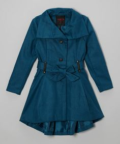 So cute! kids Take a look at this Teal Trench Coat - Girls by Yoki on #zulily today!