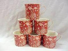 Heron Cross Pottery 6 Porzellan-Tassen in William Morris-Wandteppichdesign