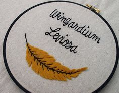 Wingardium Leviosa embroidered hoop, great for a kid's room!